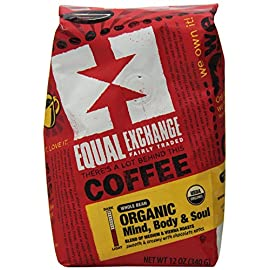 Equal Exchange Organic Coffee, Mind Body Soul, Whole Bean, 12 Ounce Bag 25 Pack of Three, 12 Ounce per pack (Total of 36 Ounces) Organic Gourmet Arabica Beans