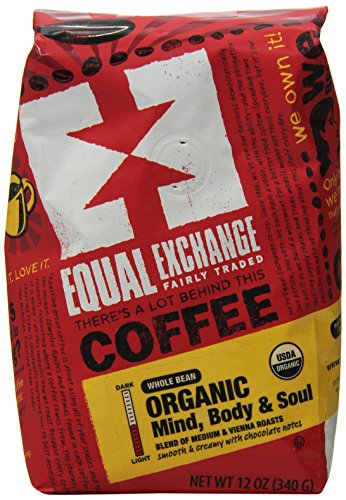 Equal Exchange Organic Whole Bean Coffee, Mind Body & Soul, 12 Ounce