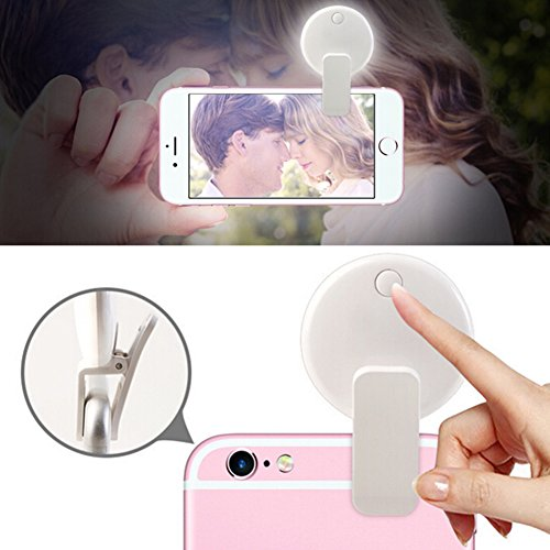 ShiLiTech Portable LED Selfie Ring Light for Mobile Phone Camera Fill Light 100mAh Rechargeable Selfie Light for iPhone iPad Laptop Sumsung Galaxy Photography Live Phones (White)