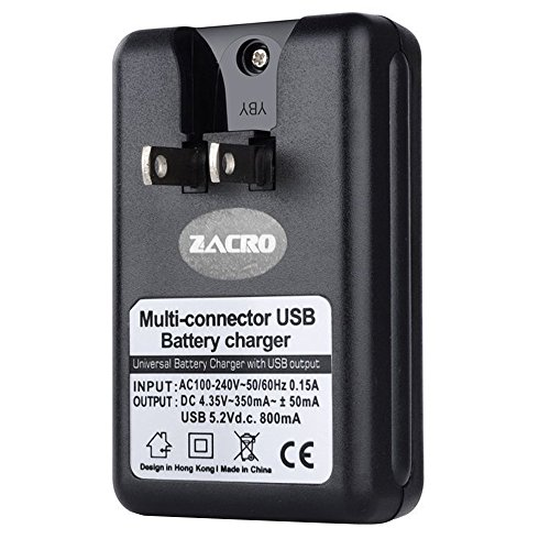 Zacro USB Wall Travel Spare Battery Charger for Samsung Galaxy S4 i9500 and Samsung Galaxy S3 i9300 (Battery Not Included)