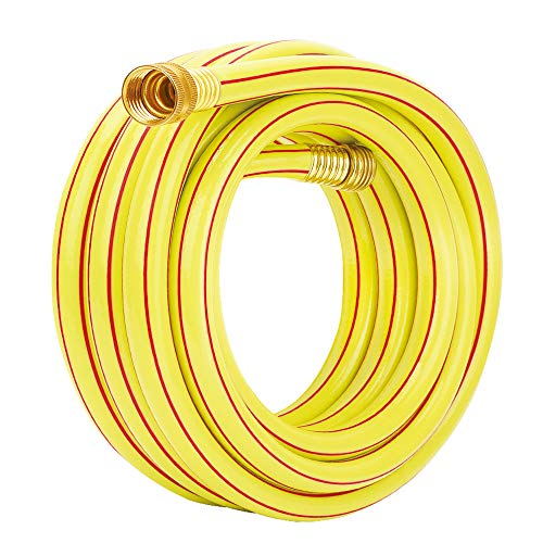 Homes Garden 25 ft. Garden Hose 5/8 inch Yellow Water Hose Commercial Brass Coupling Fittings for Household, Industrial 5 Years Warranty #G-H153A07