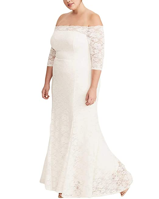 Womens Plus Size Lace Off Shoulder Wedding Dress Evening Party Maxi Gown