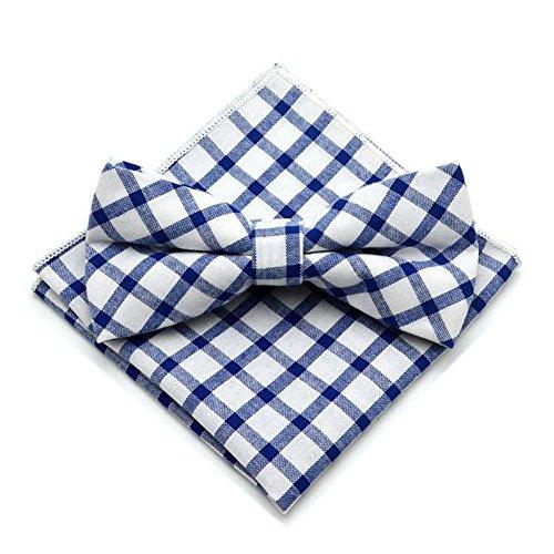 - Secdtie Men's Blue White Cravat Ties Jacquard Woven Casual Bow Pocket Square 07