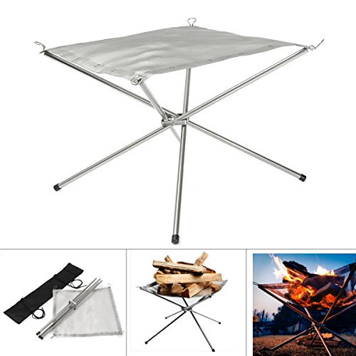 HITSAN IPRee Camping Folding Stove Frame Stand Wood Burning Grill Stainless Steel Net Outdooors Accessories One Piece