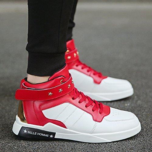Noir Blanc sport Chaussure Sneakers Hautes Rouge Homme de Cuir rouge Baskets TQGOLD Blanc 8q6wPX