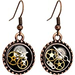 Body Candy Handcrafted Steampunk Pocket Watch Gears Fishhook Earrings 5