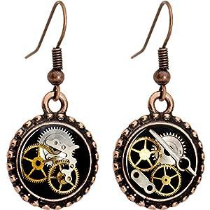 Body Candy Handcrafted Steampunk Pocket Watch Gears Fishhook Earrings