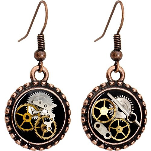 Body Candy Handcrafted Steampunk Pocket Watch Gears Fishhook Earrings -