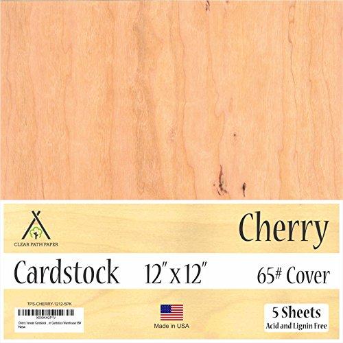 Cherry Wood Veneer Cardstock - 12 x 12 inch -