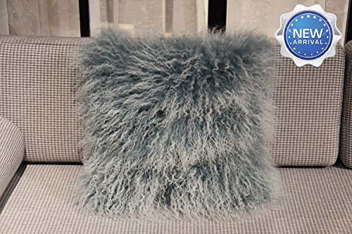 Lichao Two-tone Snow Tip Mongolian Lamb Fur Pillow Cover Luxurious Sheep Skin Cushion Cover Soft Plush Curly Pillow Case Home Decorative Square Wool Throw Pillow cover 16X16 Inch Bedroom (Sea Blue)