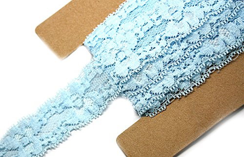 JLIKA Stretch Lace Elastic - 12 Yards - 1 Inch Wide - Trim Lace for Headbands Weddings (Light Blue)