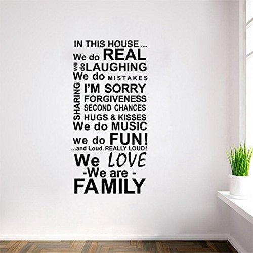 DIY Removable House Rules Quote Vinyl Wall Stickers/Decals