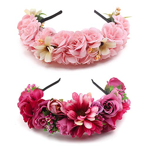(mligril 2 Pack Floral Headbands Rose Flower Crown Plastic Hair Band for Women Girl Wedding Photo Prop)