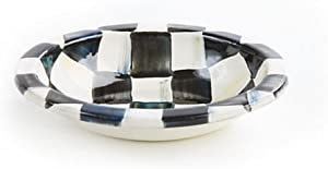 MacKenzie-Childs Soap Dish for Bathroom Sink, Steel Enamel with Decorative Courtly Check Hand Print Black/White Bowl