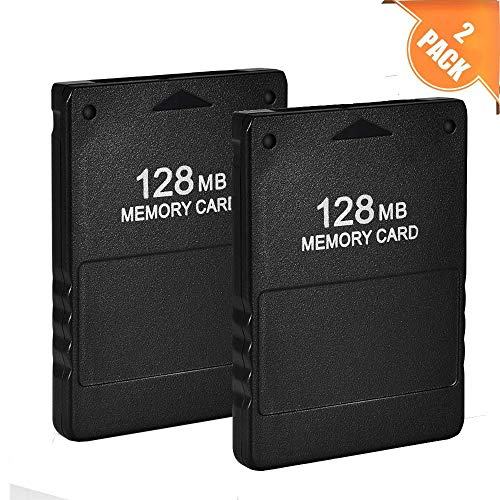 Braylin 128MB High Speed Memory Card for Sony PS2, Compatible with Sony Playstation 2, Pack of 2