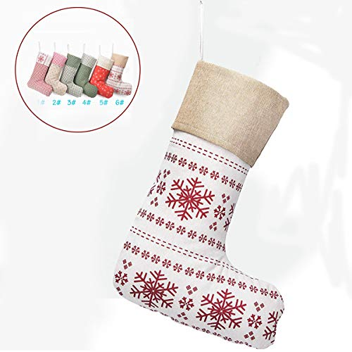 Beyond Your Thoughts (Extra Large New Checks Plaids Cotton Christmas Stockings Holidays Gingham Family Decoration Xmas Ornament (1 Pack)-Snowflakes Pattern