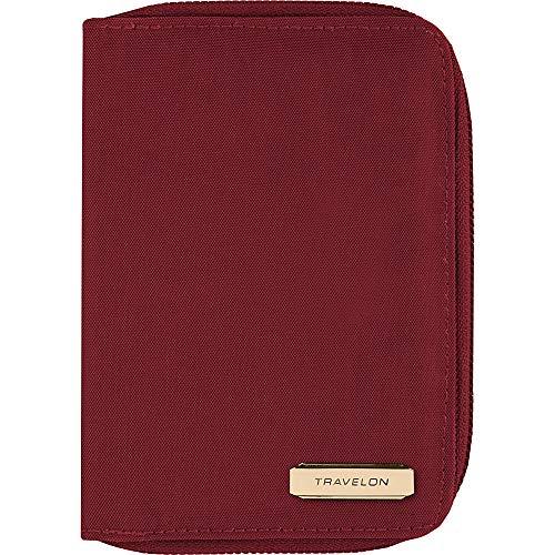 - Travelon RFID Blocking Passport Zip Wallet, Garnet