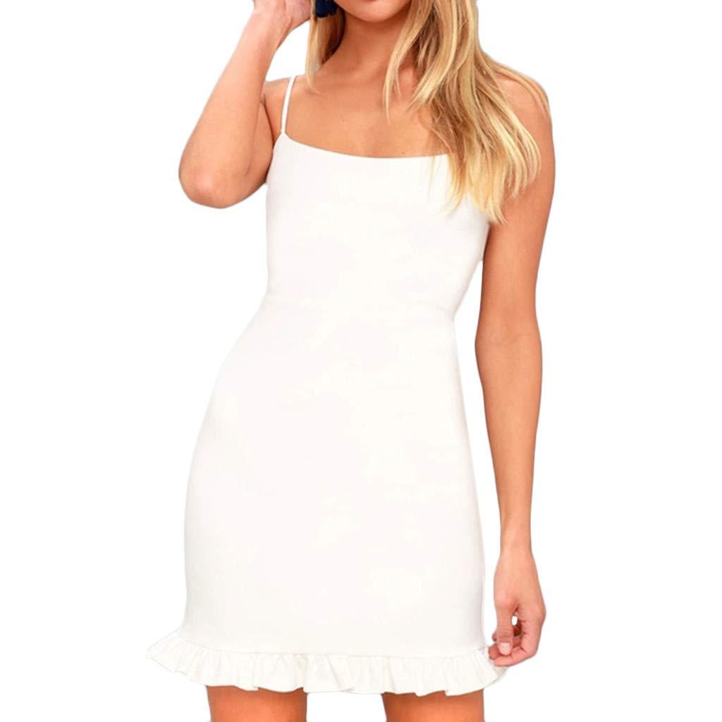Pervobs Women Cute Sleeveless Spaghetti Shoulder Strap Skinny Backless Slim Evening Party Mini Camisole Dress(US: 6, White)