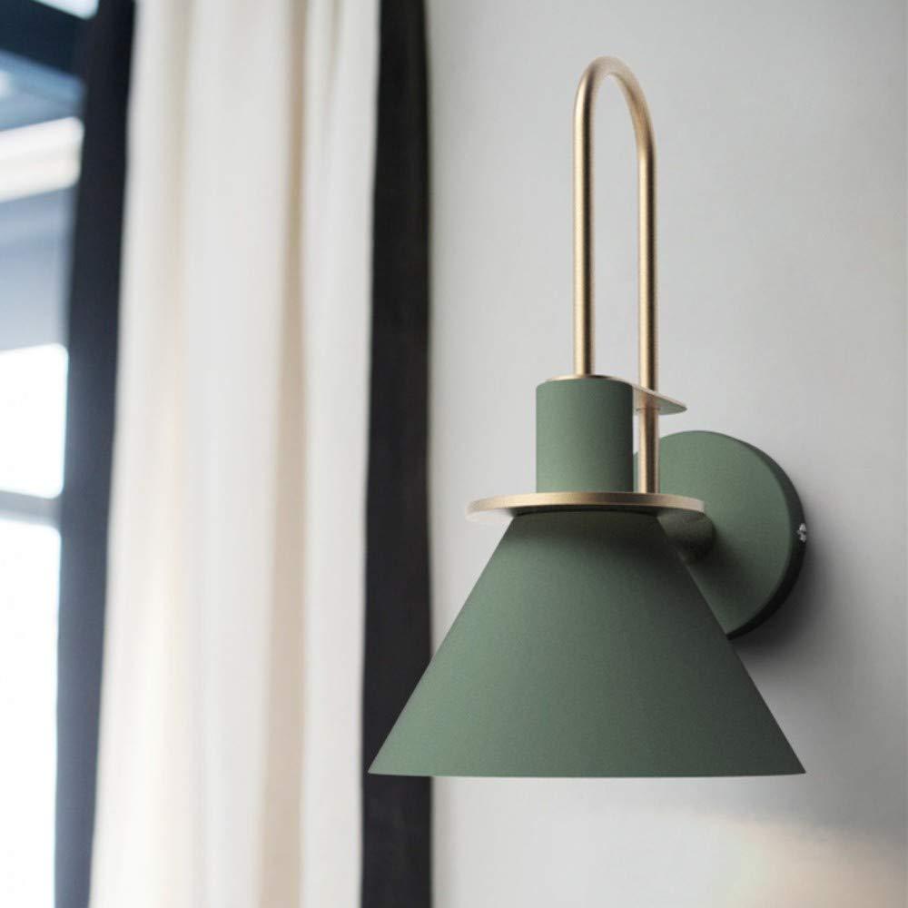 Wandleuchten Indoor American Retro Nordic Wandleuchte, LED-Hornwandleuchte Spiegelscheinwerfer, Grün