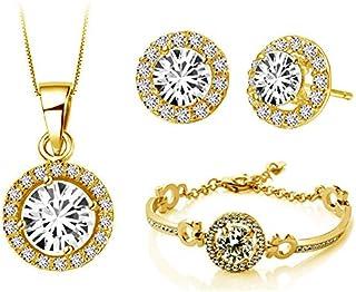 Klaritta Yellow Gold Jewellery Set White Diamante Stud Earrings Necklace, Bracelet S673