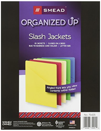 Quick View Poly Jackets - Smead Organized Up Slash File Jacket, Letter Size, Assorted Colors, 25 per Pack (75425)