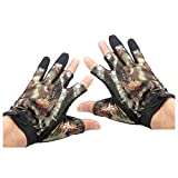 SODIAL(R) 3 Shorter Finger Waterproof Fishing Gloves Hunting Anti-Slip Mitts Shooting Camo