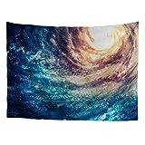 HUGS IDEA Fancy Galaxy Wall Hanging Night Sky Milky Way Design Tapestry Home Adorn for Bedroom Dorm Apartment