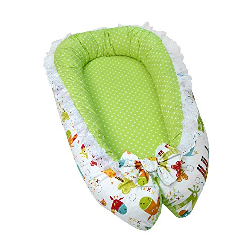 Lappi Baby Bassinet for Bed - Giraffe Unisex Baby Lounger - Breathable & Hypoallergenic Co-Sleeping Baby Bed - 100% Cotton Portable Crib