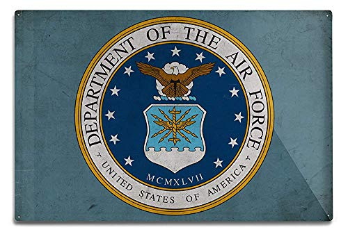Lilyanaen New Great Department of The Air Force Military Insignia Aluminum Wall Sign Wall Decor Ready to Hang for Outdoor & Indoor 12 x 18 in