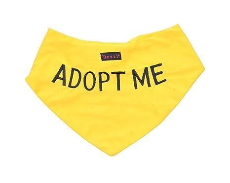 Adopt me jaune Bandana pour chien de qualité personnalisé Message brodé.  Accessoire de mode écharpe abd3eb72436
