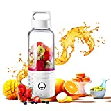 Portable Blender, TOPQSC Smoothie Blender USB Juicer Cup, 17oz Fruit Mixing Machine with 4000mAh Rechargeable Batteries, Detachable Cup, Perfect Blender for Personal Use (FDA, BPA Free) - White
