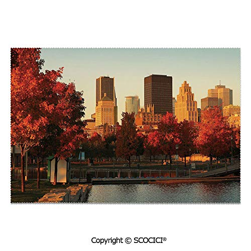SCOCICI Set of 6 Heat Resistant Non-Slip Table Mats Placemats Old Port of Montreal Early in The Morning Scenic Autumn Trees Buildings Canada for Dining Kitchen Table Decor -