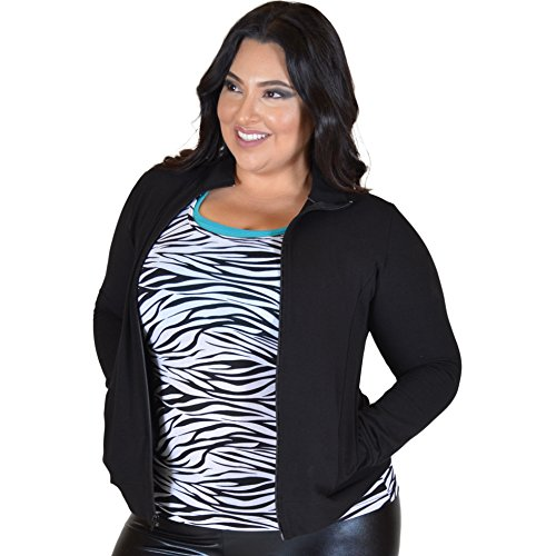 Stretch is Comfort Women's PLUS SIZE Cheer Cotton Warm Up Jacket Black XX-Large