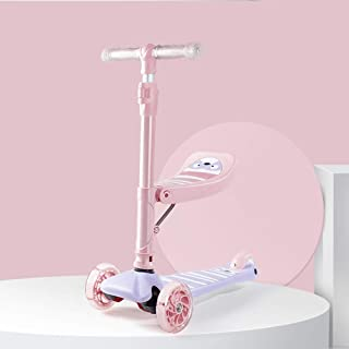 JIXIANG Scooter Balance Voiture Tricycle Poignée 3 en 1 Hauteur Réglable Pliable Parfait pour 2-8 Ans,Pink