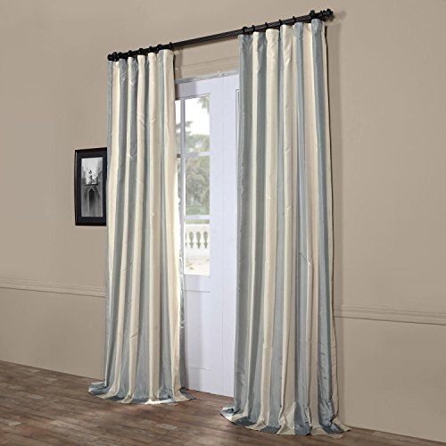 DH 1 Piece Milk White Rugby Stripes Faux Silk Taffeta Window Curtain 96 Inches Single Panel, Silver Grey Window Treatment Striped Vertical Lines Classic Traditional Rod Pocket, Silk Polyester - Taffeta Stripe Rod Pocket Curtain