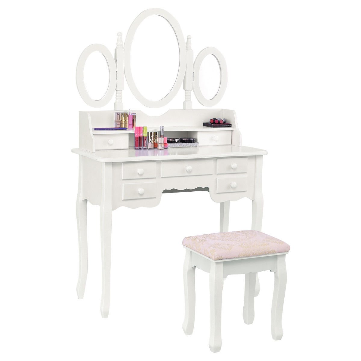 Giantex Vanity Set Tri-folding Mirror Soft Padded Bench with 7 Drawer 2 Dividers Make-up Dressing Table Vanity Table Set (White)