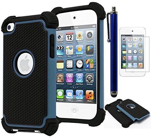 Bastex Hybrid Armor Case for Apple iPod Touch 4, 4th Generation - Blue+BlackINCLUDES Screen Protector and Stylus