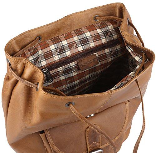 Grande mochila hecha de piel de ante engrasada, el color:Marrón Marrón