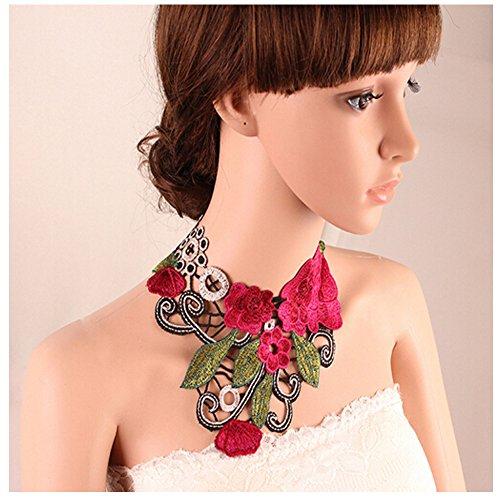 Elakaka Women's Vintage Lace Collar Eexaggerated Necklace