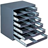 "Durham 308-95 Gray Cold Rolled Steel Easy Glide Slide Rack for 6 Small Metal Compartment Boxes, 15-1/4"" Width x 16-3/8"" Height x 11-3/4"" Depth"