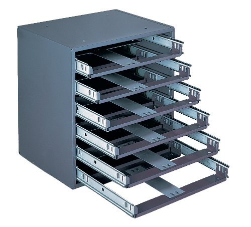 Durham 308-95 Gray Cold Rolled Steel Easy Glide Slide Rack for 6 Small Metal Compartment Boxes, 15-1/4'' Width x 16-3/8'' Height x 11-3/4'' Depth by Durham