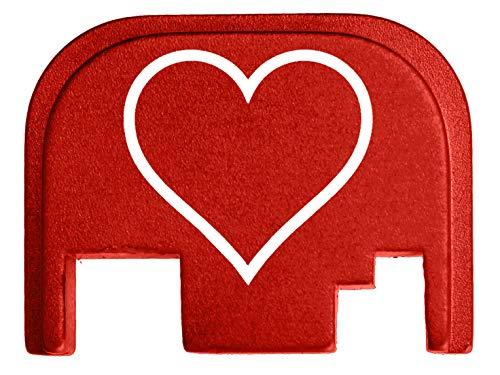 for Glock Back Plate Gen 1-4 17 19 21 22 23 27 30 34 36 41 Red NDZ - Heart Outline