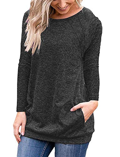 Hount Womens Casual Round Neck Long Sleeve Plus Size Tunic Tops with Pockets