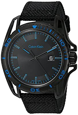 Calvin Klein 'Earth' Mens All Black Watch - Black PVD Stainless Steel with Black Fabric Leather Strap - Swiss Made Date Rotating Bezel Analog Quartz Movement - Calvin Klein Watches For Men K5Y31YB1
