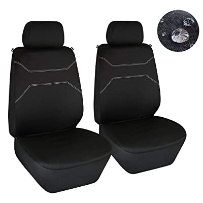Elantrip Waterproof Front Seat Covers Water Resistant Bucket Seat Protector Universal Fit Airbag Compatible for Cars SUV Truck, Black 2 PC: Automotive
