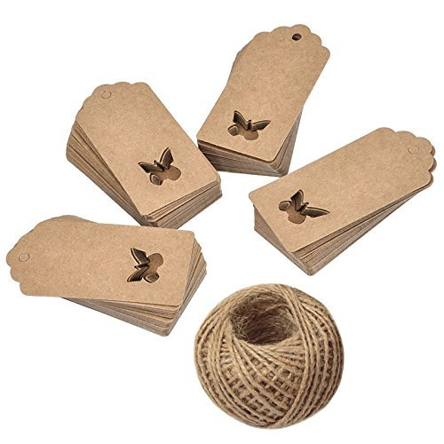 Butterfly Tags - Gift Tags,100 Pieces Kraft Paper tags,Hollow Butterfly Gift Tags for Christmas Day and Wedding or Birthday Party Brown Kraft Hang Labels Tags with 30 Meters Natural Jute Twine.