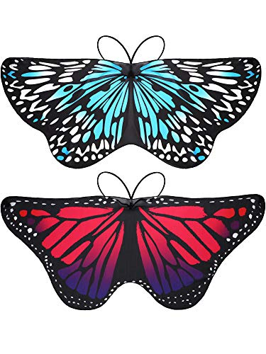 2 Pieces Butterfly Wings Costume Fairy Fabric Sun Protection Shawl Halloween Pixie Butterfly Costume ()