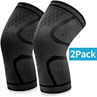 Knee Brace Support, BKSTONE 2 Pack Anti Slip Knee Brace Compression Sleeves Super Elastic Breathable for Joint Pain, Arthritis, Ligament Injury, Sports Injury Rehabilitation, Protection against Reinjury