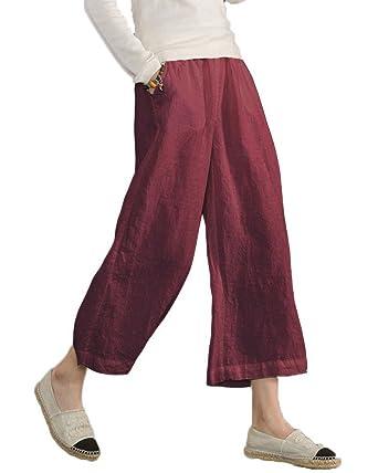 Minetom Pantalon Large à jambes et Fluides pour Femmes Confortable  Elastiqué Grande Taille 3 4 3efbaa187844