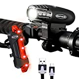Outair USB Rechargeable Bike Light Set Powerful Lumens Bicycle Light Front and Rear for Kids Men Women Road Cycling Safety Flashlight